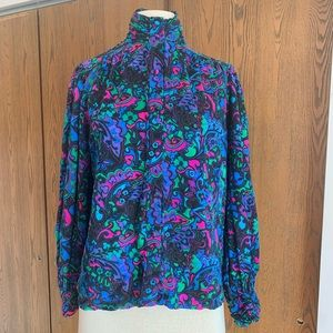 Vintage Adrianna Papell Floral Silk Blouse Sz 10